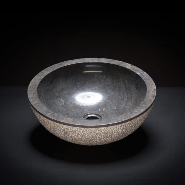 Marble Black Textured Vessel Sink-649
