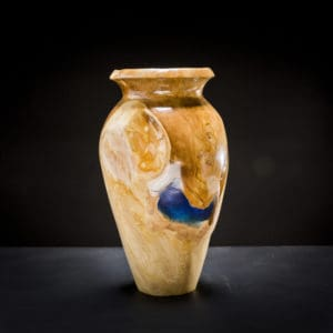 Teak Root Wooden Vase Blue-0