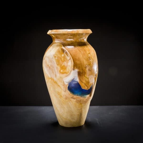 Teak Root Wooden Vase Blue-0