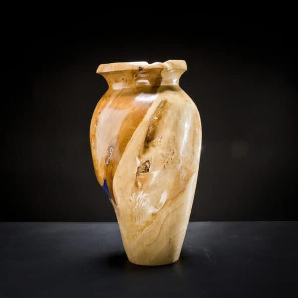 Teak Root Wooden Vase Blue-397