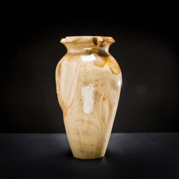 Teak Root Wooden Vase Blue-398