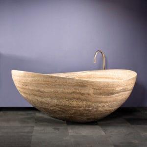 Stone Forest Papillion travertine bathtub