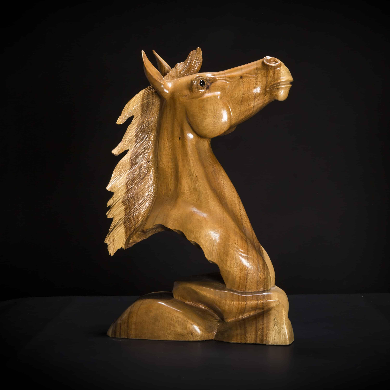 Hand Carved Wooden Horse Head Sculpture Decora Loft