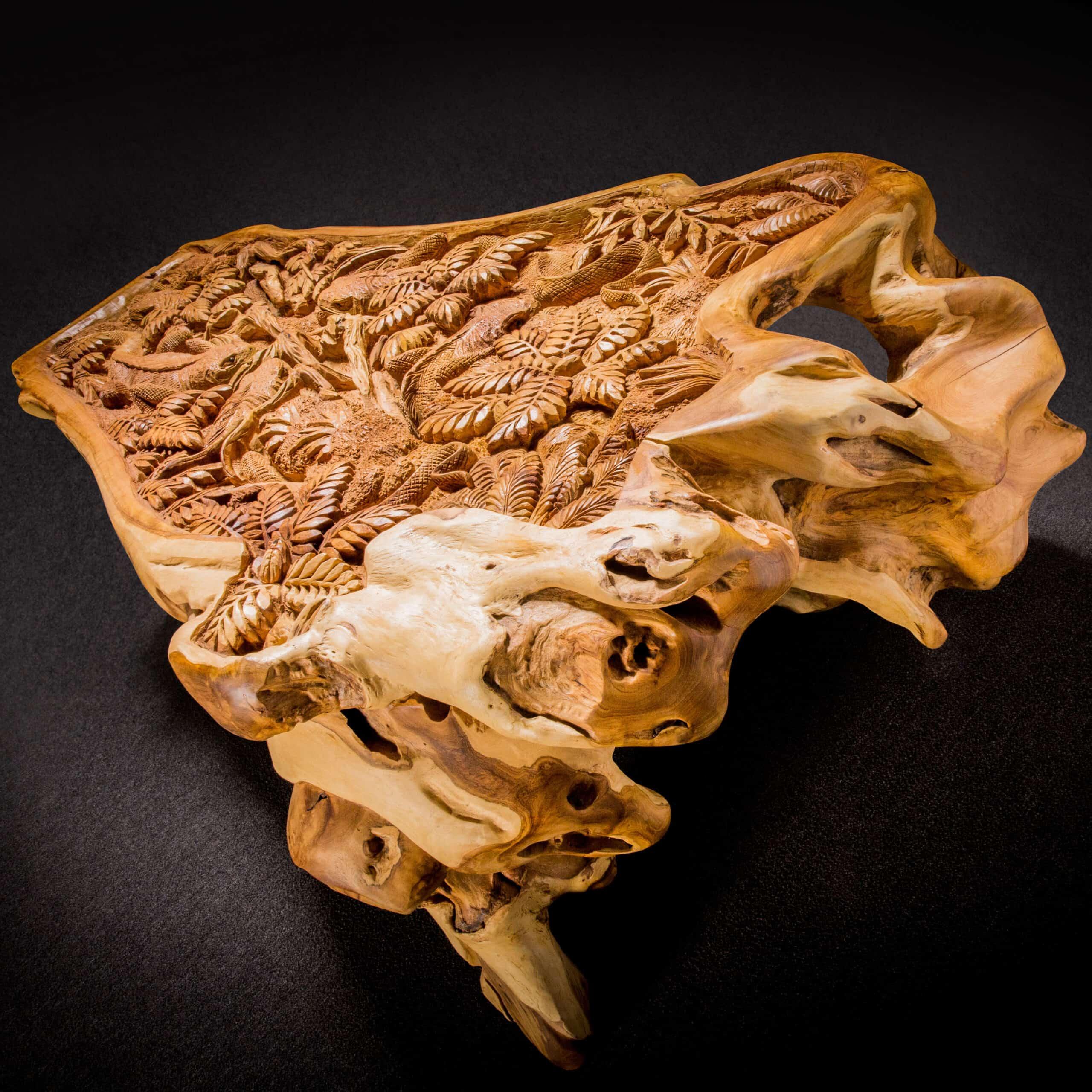 Iguana Frenzy Live Edge Teak Root Coffee Table - Decora Loft