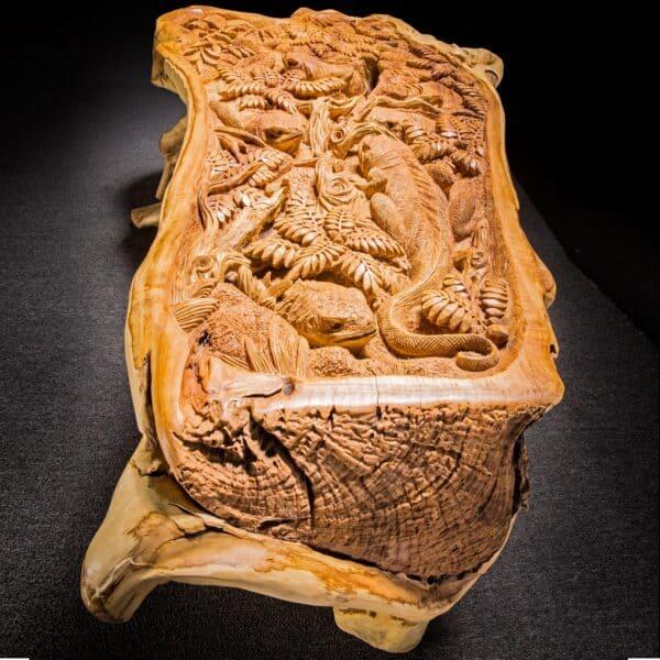 Live Edge Reclaimed Teak Root Iguana Lizard Coffee Table