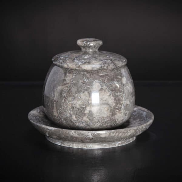 Marble Jar With Fitted Lid And Saucer
