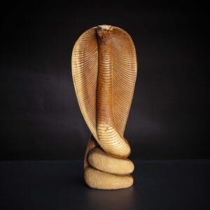 Standing Carved Wooden Cobra
