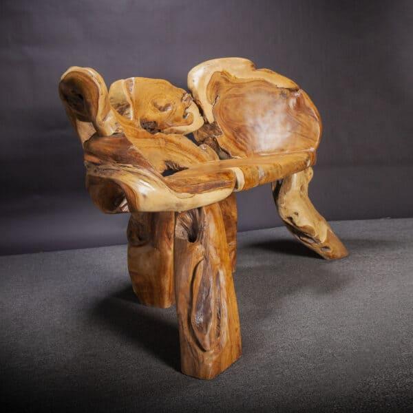 Carved Teak Root Bench