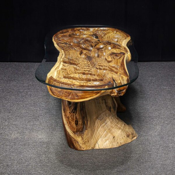 Hawks Carved Teak Root Table