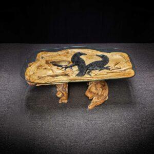 Black Crow Carved Teak Root Table