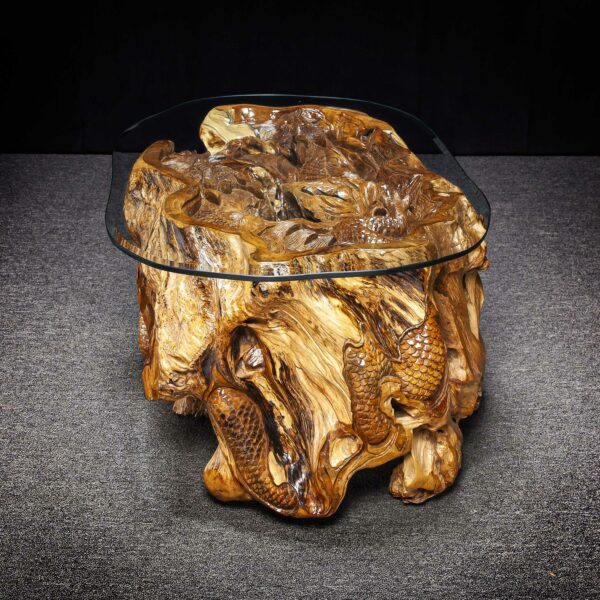 Dragon Carved Teak Root Table