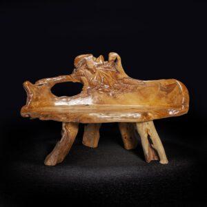 Dragon Carved Teak Root Bench