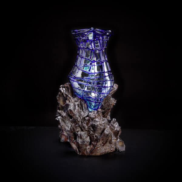 Blue Molten Glass Pitcher