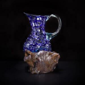 Blue Molten Glass Pitcher
