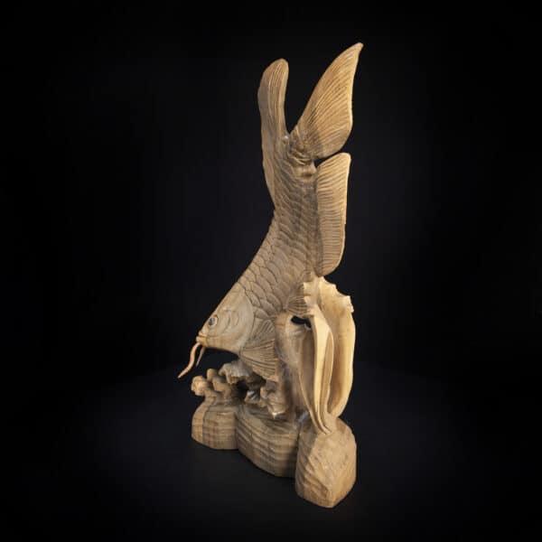 Arowana Fish Carved Statue