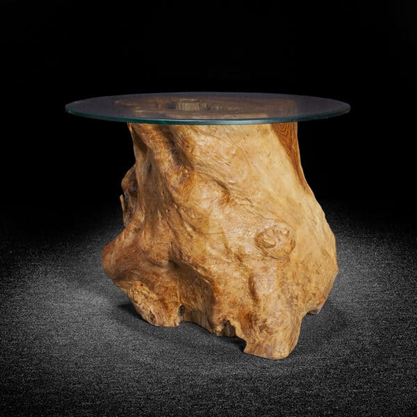 Carved Teak Root Table With Burl