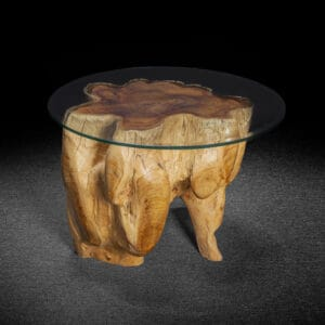 Live Edge Carved Teak Root Table With Burl