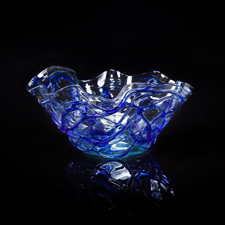 Blue Molten Glass Bowl