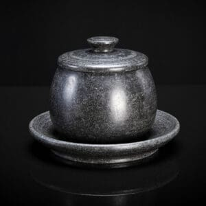 Black Marble Jar With Lid And Saucer