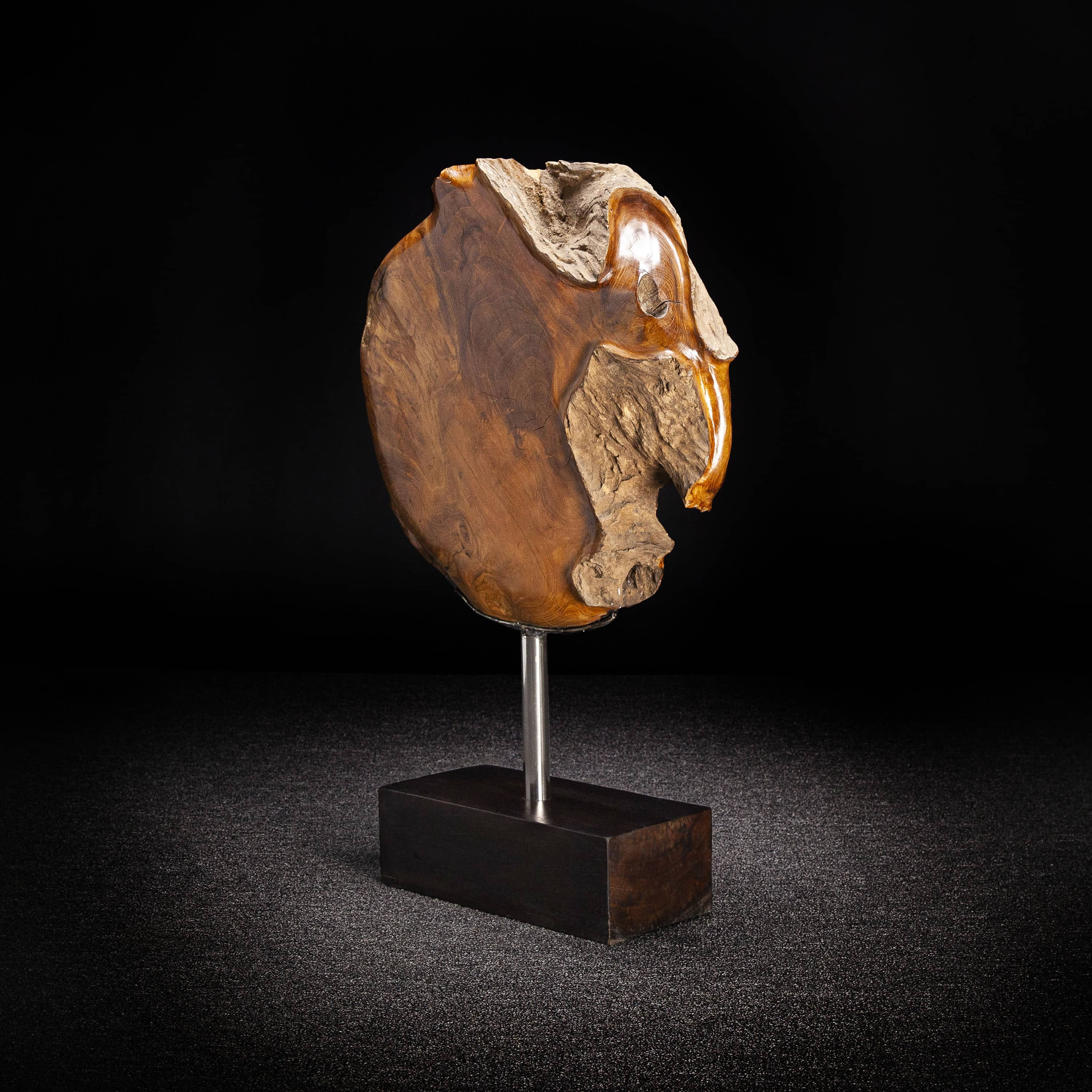 Abstract Teak Root Flower Carving