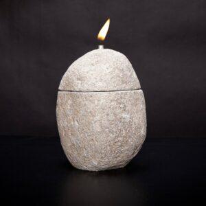river stone lantern