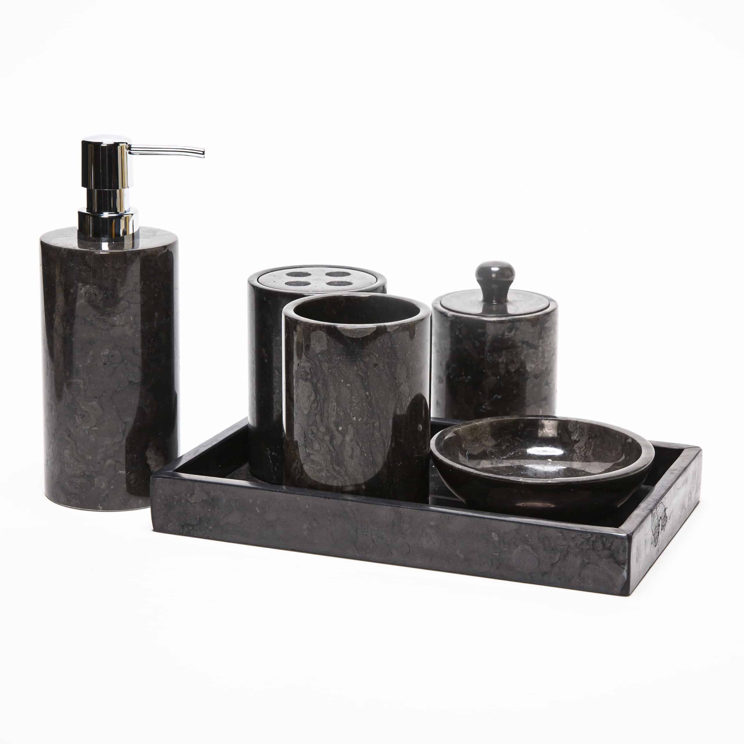 6 Piece Marble Bathroom Accessory Set Dark Gray Decora Loft